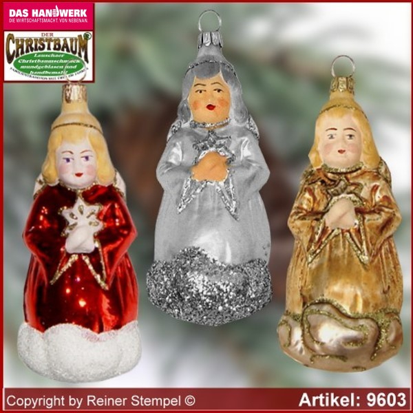 Christmas tree ornaments Angel with star glass figure glass shape Collectible glass from Lauscha Thüringen.