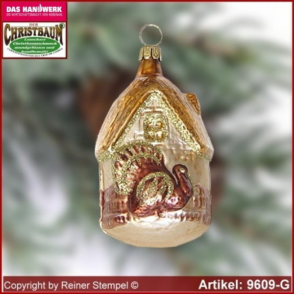 Christmas tree ornaments House with gobbler glass figure glass shape Collectible