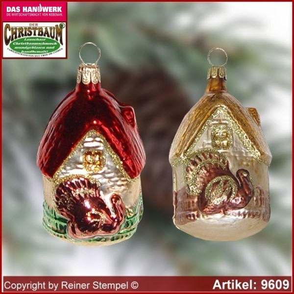 Christmas tree ornaments House with gobbler glass figure glass shape Collectible glass from Lauscha Thüringen.