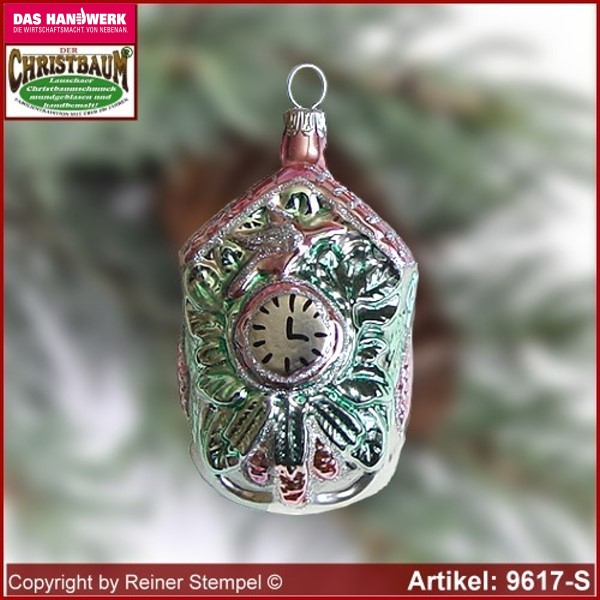 Christmas tree ornaments Cuckoo Clock glass figure glass shape Collectible