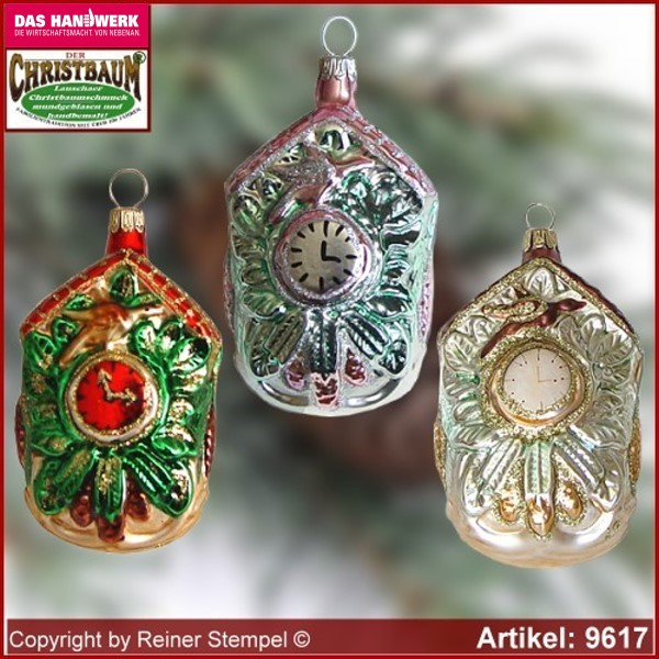 Christmas tree ornaments Cuckoo Clock glass figure glass shape Collectible Lauscha Glass Art ®.