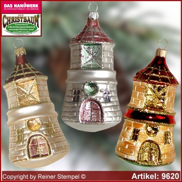 Christmas tree ornaments Lighthouse glass figure glass shape Collectible Lauscha Glass Art ®.