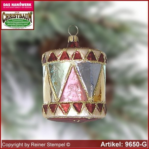 Christmas tree ornaments drum glass figure glass shape Collectible