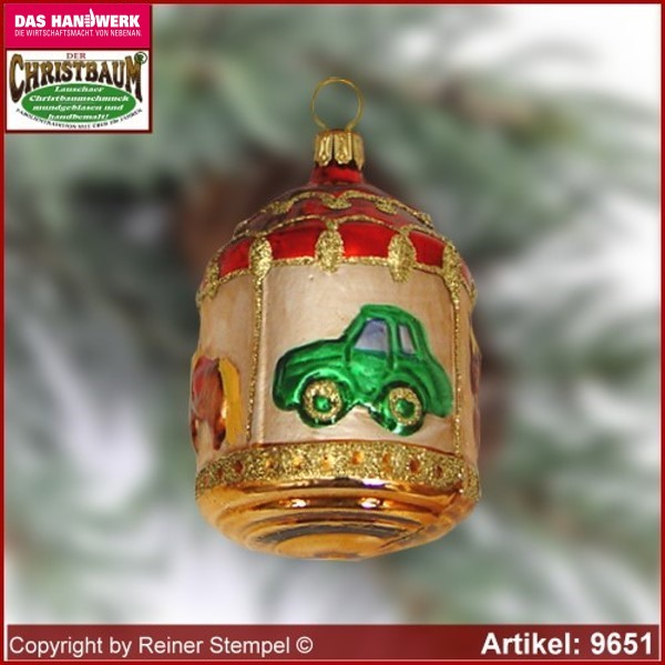 Christmas tree ornaments carousel glass figure glass shape Collectible glass from Lauscha Thüringen.