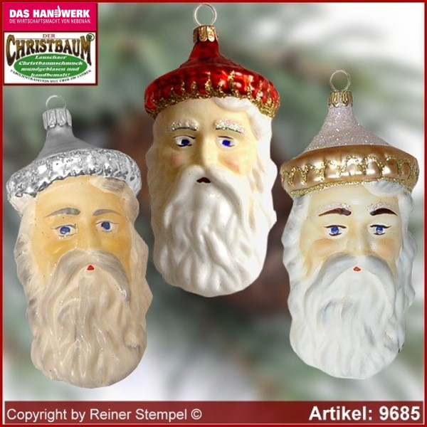 Christmas tree ornaments Old German Santa Head glass figure glass shape Collectible glass from Lauscha Thüringen.