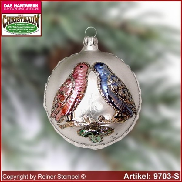 Christmas tree ornaments ball with love birds glass figure glass shape Collectible