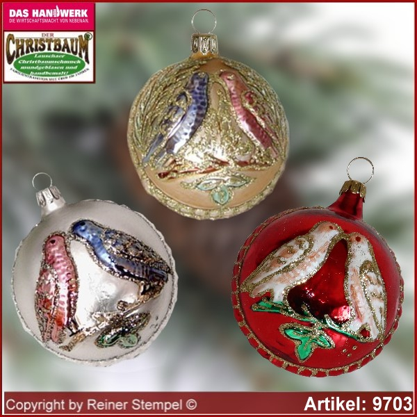 Christmas tree ornaments ball with love birds glass figure glass shape Collectible Lauscha Glass Art ®.