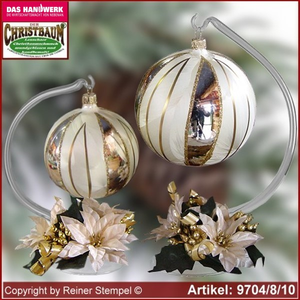 Christmas decoration glass ball with candles ring and glass stand Tradition Lauscha Glass Art ®.