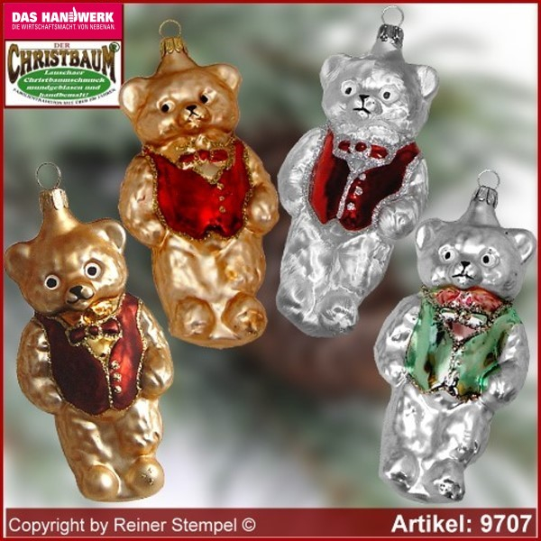 Christmas tree ornaments bear with vest glass figure glass shape Collectible Lauscha Glass Art ®.