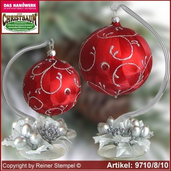 Christmas decoration glass ball with candles ring and glass stand Rokoko Lauscha Glass Art ®.