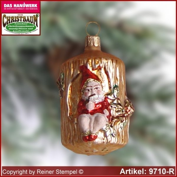 Christmas tree ornaments dwarf in the tree trunk glass figure glass shape Collectible