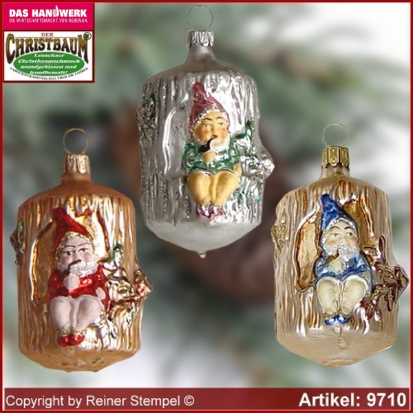 Christmas tree ornaments dwarf in the tree trunk glass figure glass shape Collectible glass from Lauscha Thüringen.