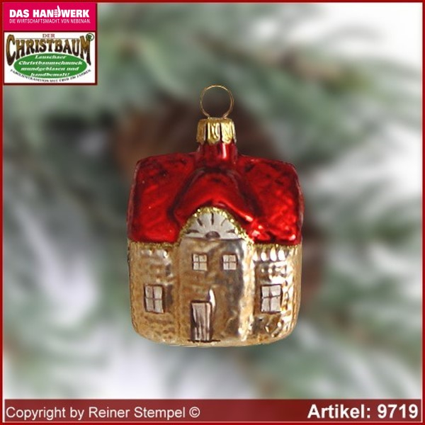 Christmas tree ornaments house glass figure glass shape Collectible Lauscha Glass Art ®.