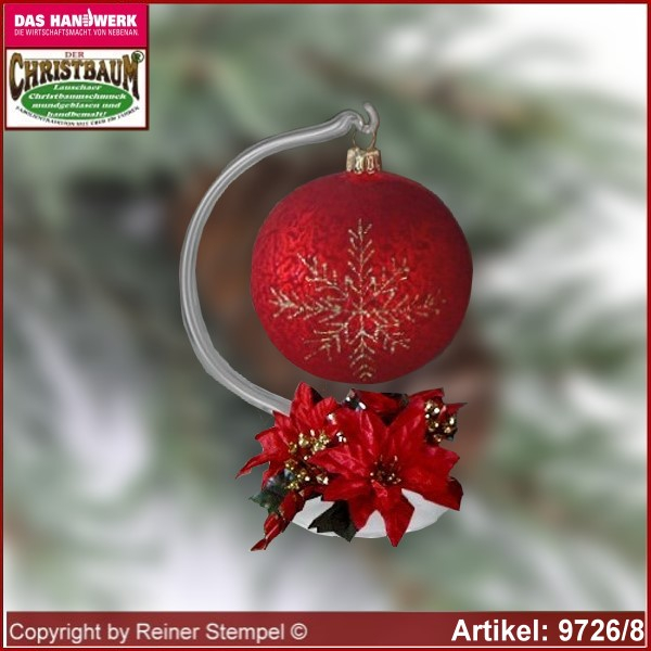Christmas decoration glass ball with candles ring and glass stand Mystic red glass from Lauscha Thüringen.
