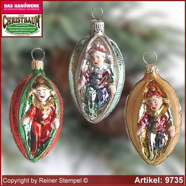 Christmas tree ornaments Harlequin in Olive glass figure glass shape Collectible Lauscha Glass Art ®.