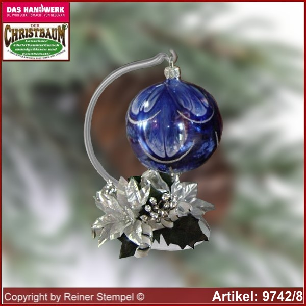 Christmas decoration glass ball with candles ring and glass stand Modern glass from Lauscha Thüringen.