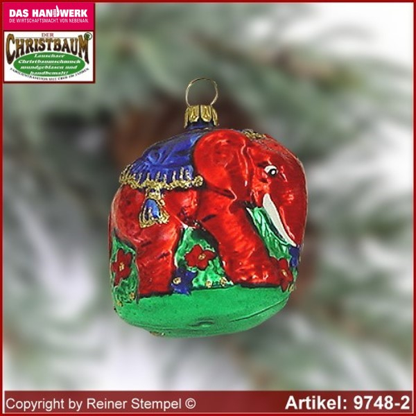 Christmas tree ornaments elephant on flower meadow glass figure glass shape Collectible