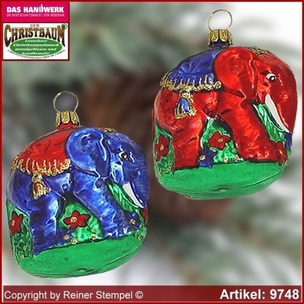 Christmas tree ornaments elephant glass figure glass shape Collectible glass from Lauscha Thüringen.