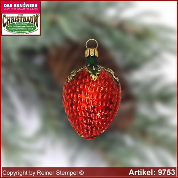 Christmas tree ornaments strawberry glass figure glass shape Collectible Lauscha Glass Art ®.