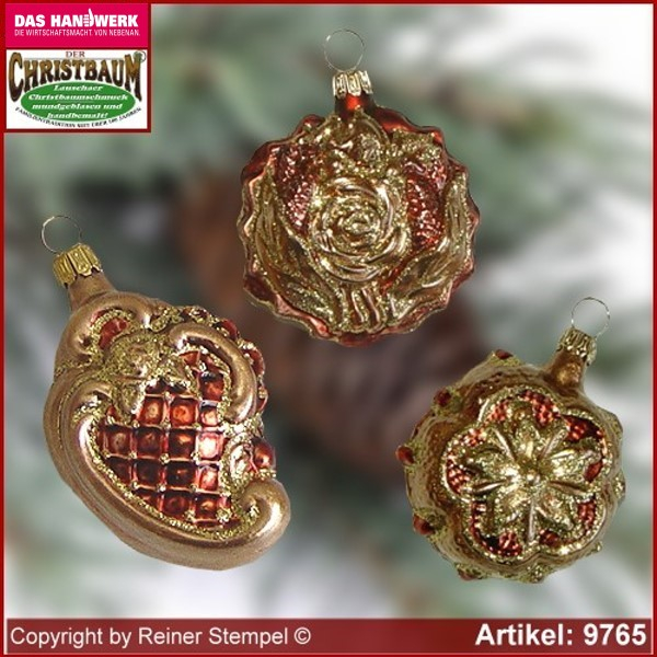Christmas tree ornaments Baroque forms Set 3-pc. glass figure glass shape Collectible glass from Lauscha Thüringen