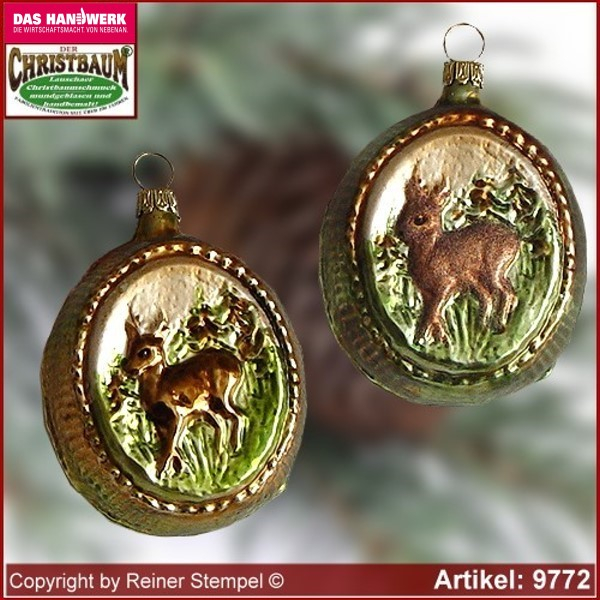 Christmas tree ornaments Medallion with deer glass figure glass shape Collectible glass from Lauscha Thüringen.