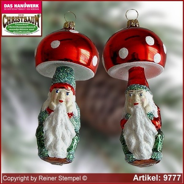 Christmas tree ornaments toadstool dwarf glass figure glass shape Collectible Lauscha Glass Art ®.