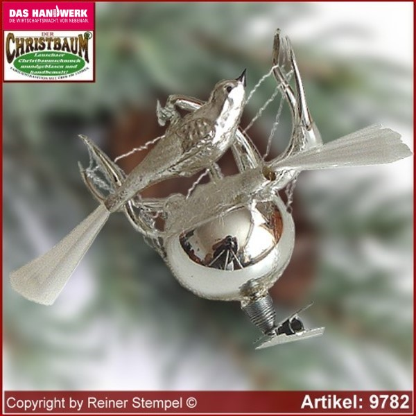 Christmas tree ornaments Lyra nest with birds glass figure glass shape Collectible Lauscha Glass Art ®.