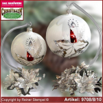 Christmas decoration glass ball with candles ring and glass stand Märchenzeit