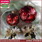 Christmas decoration glass ball with candles ring and glass stand Naturzeit Rot