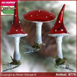 Christmas tree ornaments toadstool shine in 3 glass forms glass figure glass shape Collectible